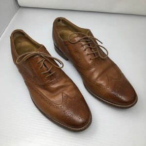Cole Haan Dustin Cap Brogue Oxfords In Tan Size 11